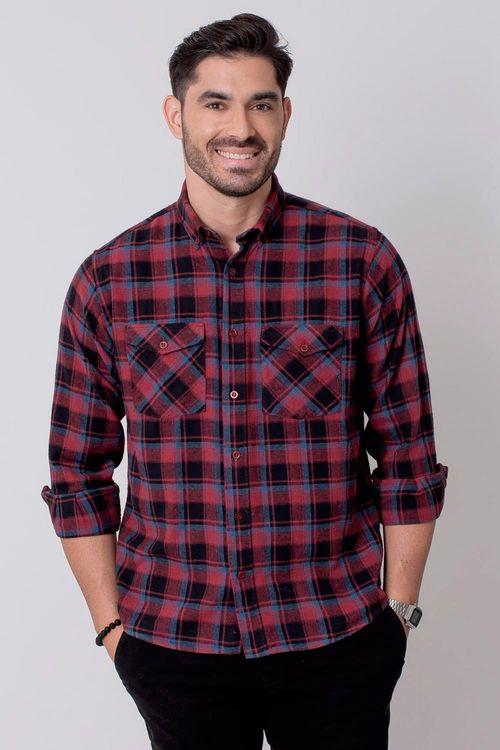 Camisa Casual Masculina Tradicional Flanela Vermelho 071 08209