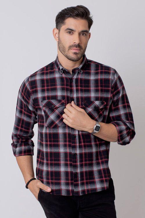 Camisa Casual Masculina Tradicional Flanela Preto 002 08210