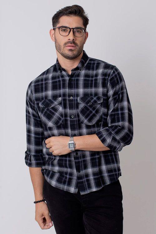 Camisa Casual Masculina Tradicional Flanela Cinza 015 08210
