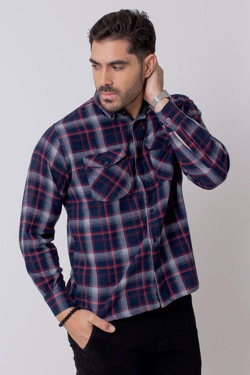 Camisa Casual Masculina Tradicional Flanela Azul 052 08210