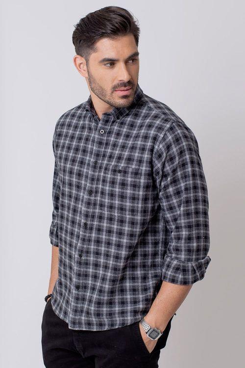 Camisa Casual Masculina Tradicional Flanela Preto 002 08211