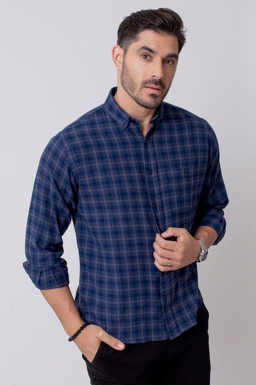 Camisa Casual Masculina Tradicional Flanela Azul 052 08211