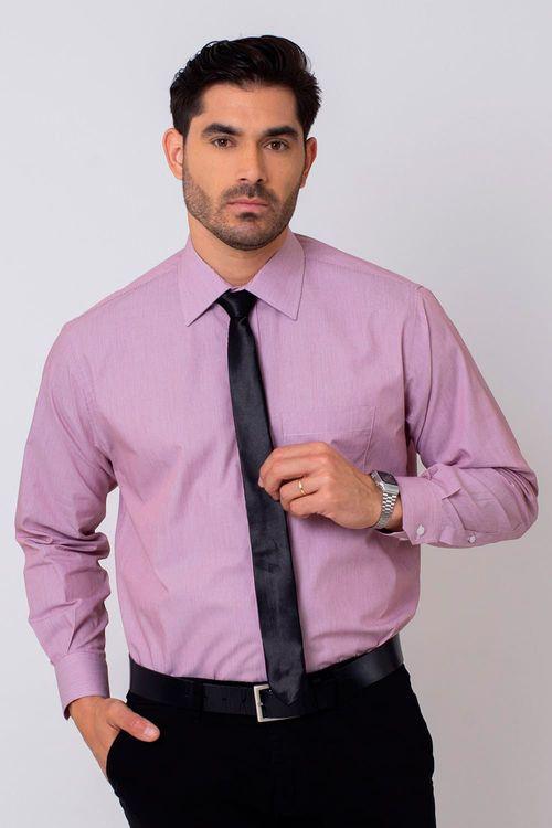 Camisa Social Masculina Tradicional Algodão Fio 50 Vermelho 003 07873