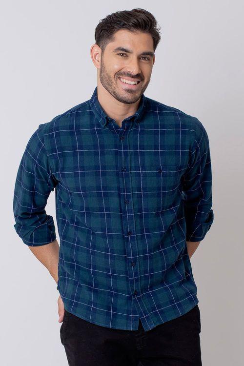 Camisa Casual Masculina Tradicional Flanela Azul 052 08212