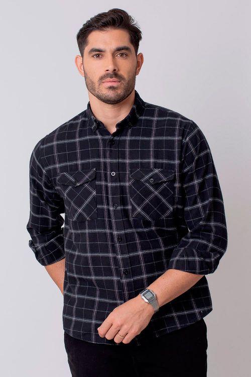 Camisa Casual Masculina Tradicional Flanela Preto 002 08213