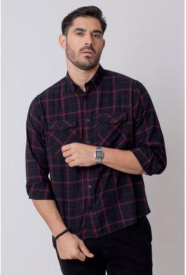 Camisa Casual Masculina Tradicional Flanela Vermelho 003 08213