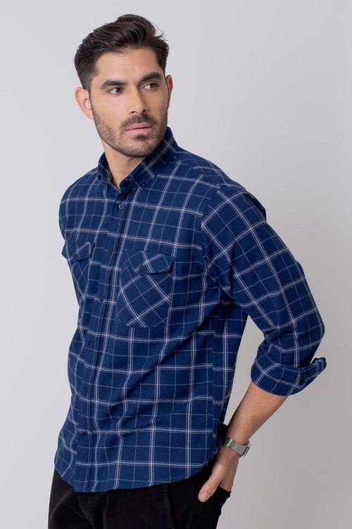 Camisa Casual Masculina Tradicional Flanela Azul 052 08213