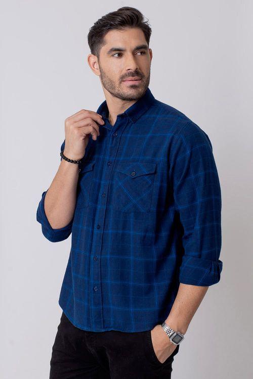 Camisa Casual Masculina Tradicional Flanela Azul 529 08213