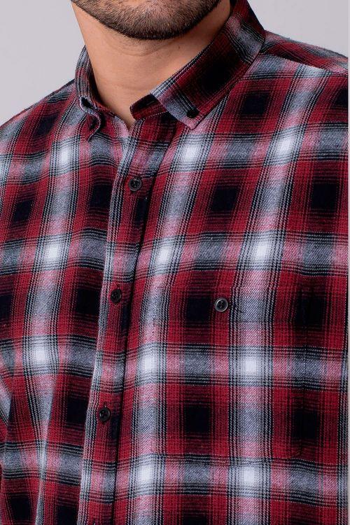 Camisa Casual Masculina Tradicional Flanela Vermelho 003 08214