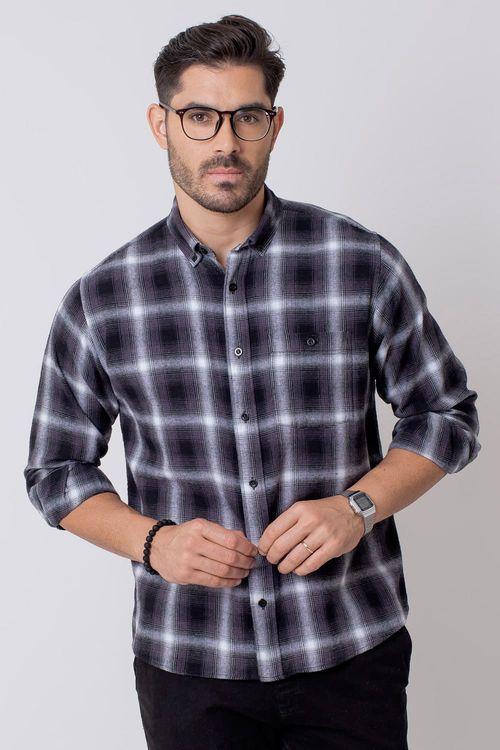 Camisa Casual Masculina Tradicional Flanela Grafite 017 08214