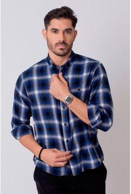 Camisa Casual Masculina Tradicional Flanela Azul Escuro 545 08214