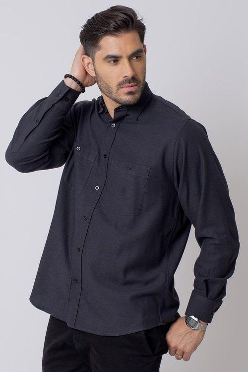 Camisa Casual Masculina Tradicional Flanela Preto 002 08205