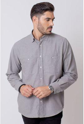 Camisa Casual Masculina Tradicional Flanela Cinza 015 08205