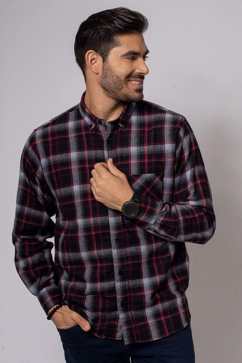 Camisa casual masculina tradicional flanela preto f08188a