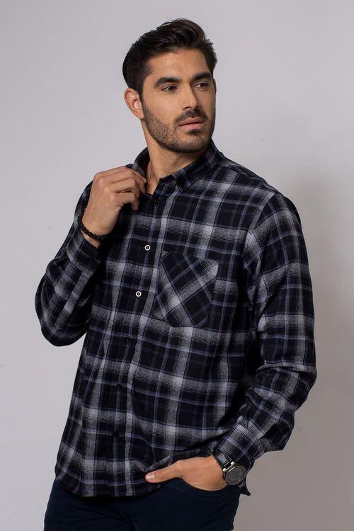 Camisa casual masculina tradicional flanela cinza f08188a