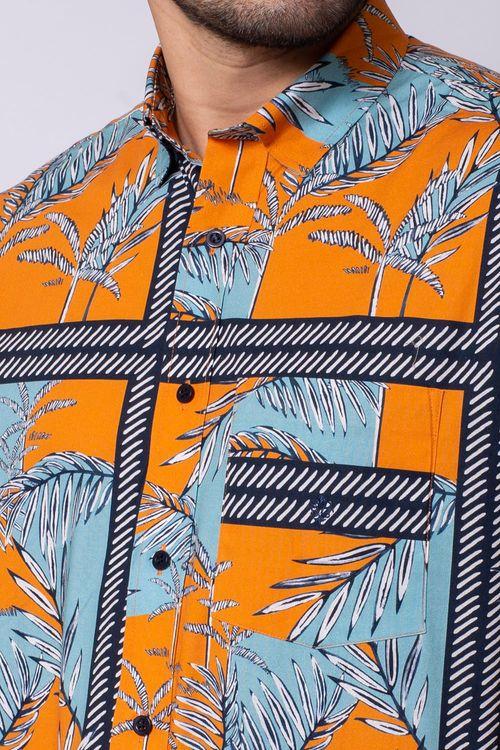 Camisa Casual Masculina Tradicional Algodão Fio 40 Laranja 032 08337