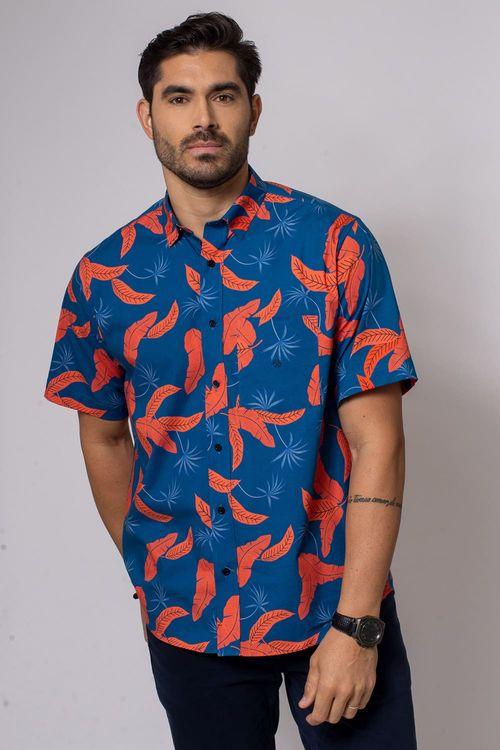 Camisa Casual Masculina Tradicional Algodão Fio 40 Azul 068 08337