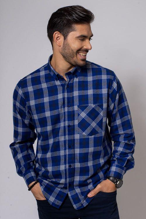 Camisa Casual Masculina Tradicional Flanela Azul Escuro 545 08377