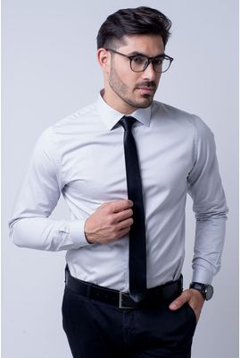 Camisa Slim Masculina Slim Algodão Fio 80 Cinza 015 05423