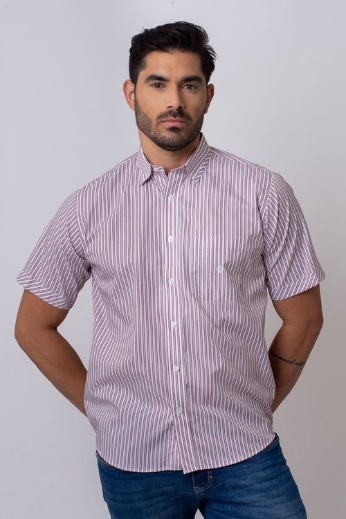 Camisa Casual Masculina Tradicional Algodão Fio 50 Vermelho 003 05336