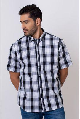 Camisa Casual Masculina Tradicional Algodão Fio 50 Preto 002 06266
