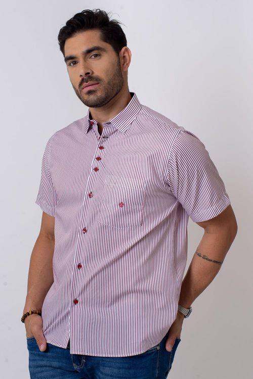 Camisa Casual Masculina Tradicional Algodão Fio 80 Vermelho 003 05808