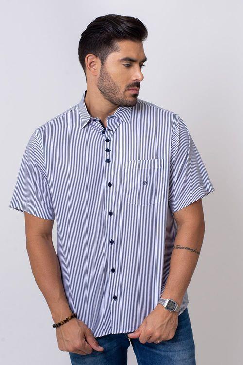 Camisa Casual Masculina Tradicional Algodão Fio 80 Azul 068 05808