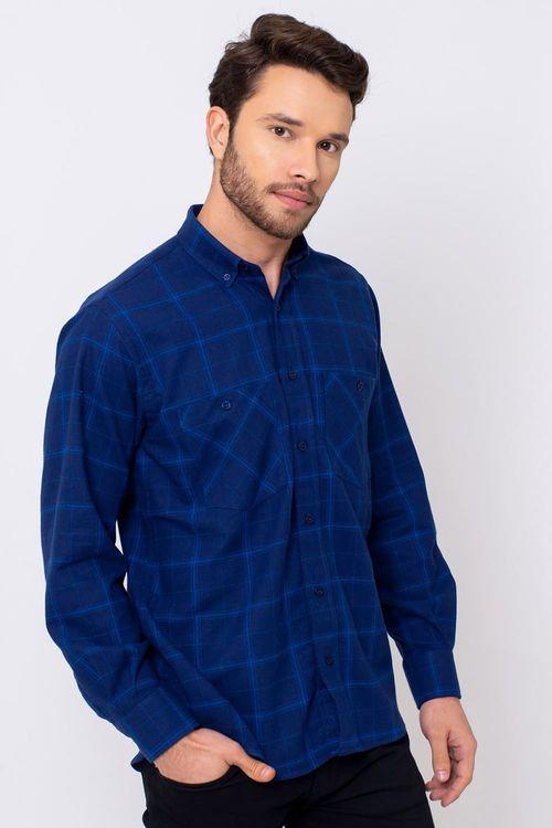 Camisa Casual Masculina Tradicional Flanela Azul 529 08197