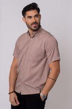 Camisa-Casual-Masculina-Tradicional-Microfibra-Marrom-08308-01