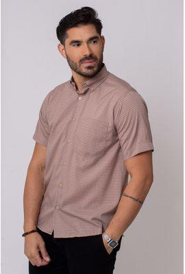 Camisa Casual Masculina Tradicional Microfibra Marrom 043 08308