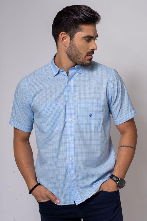 Camisa Casual Masculina Tradicional Microfibra Azul Médio 007 08032