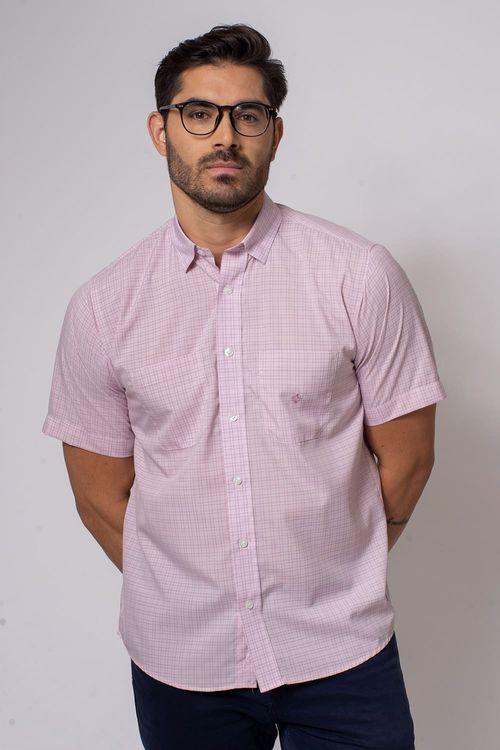 Camisa Casual Masculina Tradicional Microfibra Rosa 011 08032