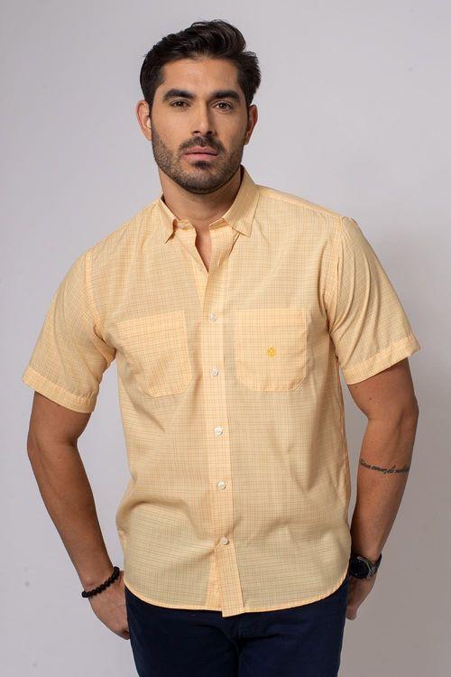 Camisa Casual Masculina Tradicional Microfibra Laranja 019 08032