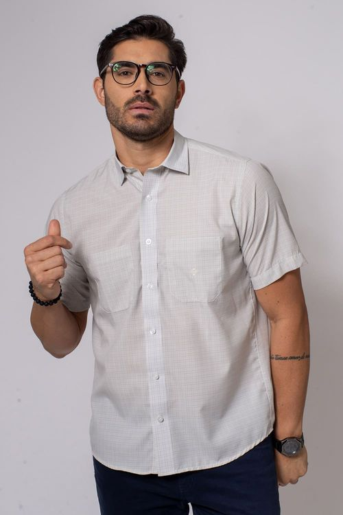 Camisa Casual Masculina Tradicional Microfibra Cinza 039 08032