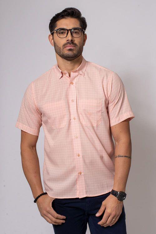 Camisa Casual Masculina Tradicional Microfibra Salmão 042 08032