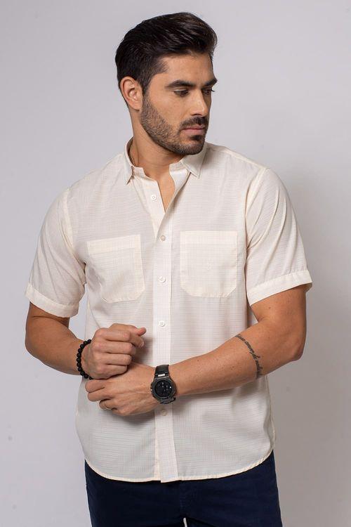 Camisa Casual Masculina Tradicional Microfibra Creme 060 08032