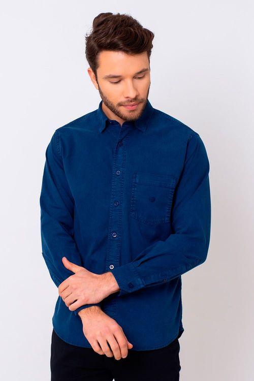 Camisa Casual Masculina Tradicional Tencel Azul 052 08352