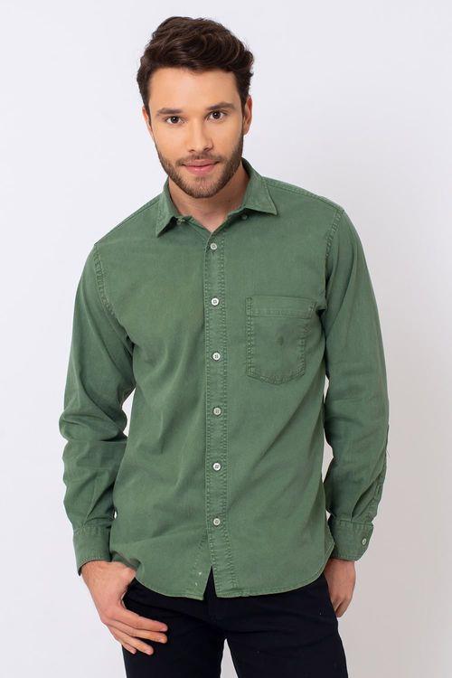 Camisa Casual Masculina Tradicional Tencel Verde 400 08352