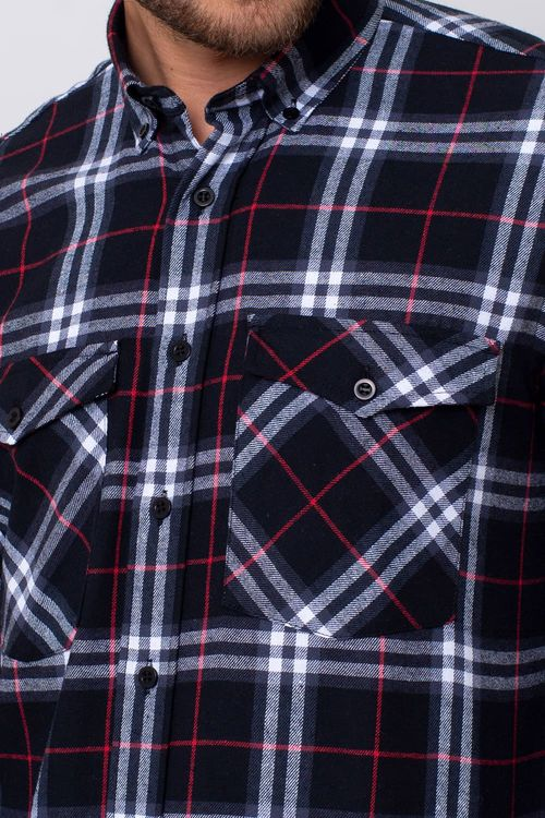 Camisa Casual Masculina Tradicional Flanela Preto 002 08378