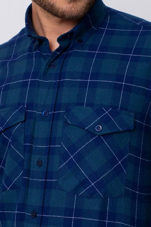Camisa Casual Masculina Tradicional Flanela Azul 052 08379