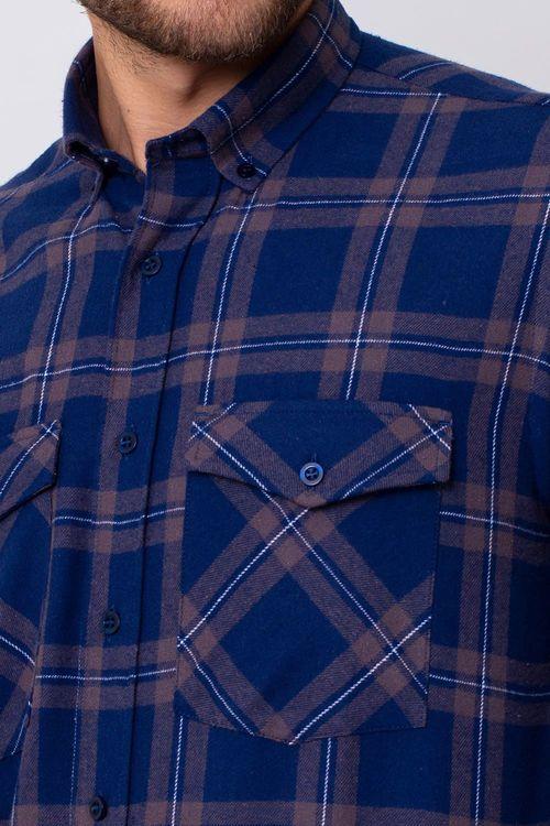 Camisa Casual Masculina Tradicional Flanela Azul 052 08390