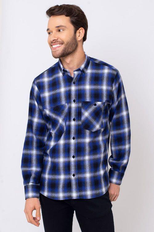 Camisa Casual Masculina Tradicional Flanela Azul Escuro 545 08375