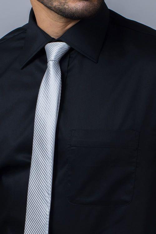 Camisa Social Masculina Tradicional Algodão Fio 80 Preto 002 08393