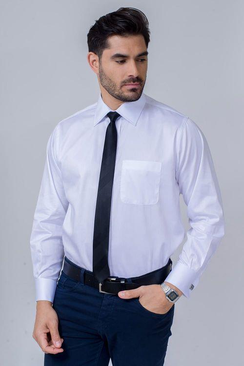 Camisa Social Masculina Tradicional Algodão Fio 80 Branco 005 08393