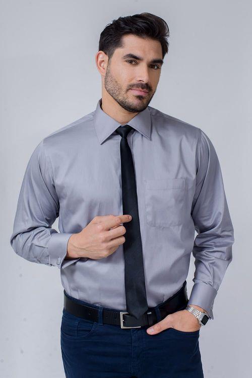 Camisa Social Masculina Tradicional Algodão Fio 80 Cinza 015 08393