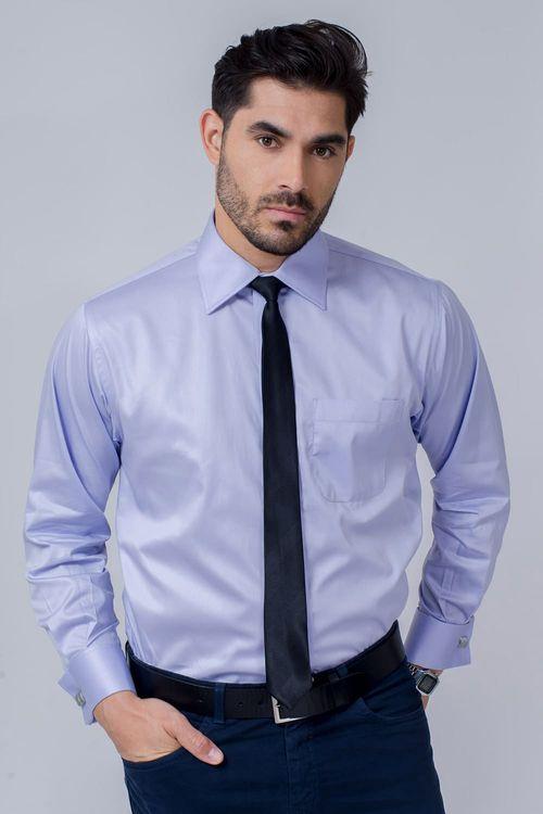 Camisa Social Masculina Tradicional Algodão Fio 80 Lilás 036 08393
