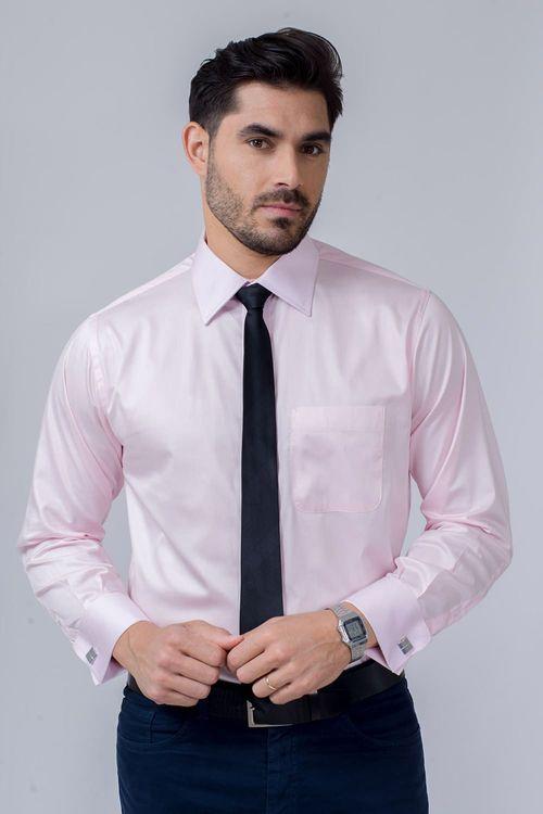 Camisa Social Masculina Tradicional Algodão Fio 80 Rosa 102 08393