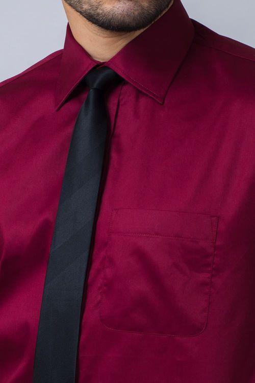 Camisa Social Masculina Tradicional Algodão Fio 80 Bordo 137 08393