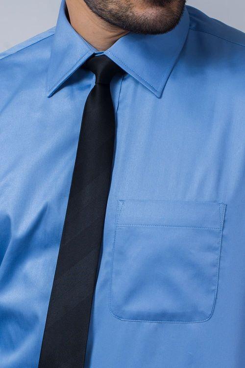 Camisa Social Masculina Tradicional Algodão Fio 80 Azul 232 08393
