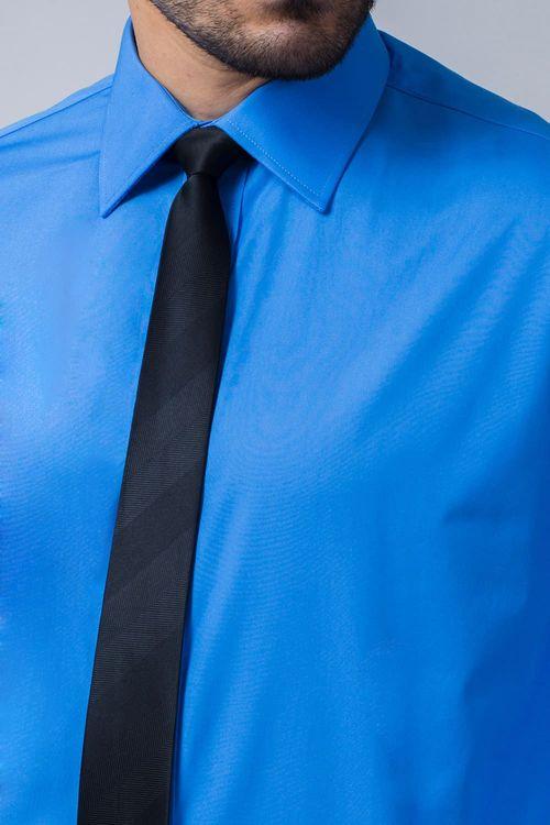 Camisa Social Masculina Tradicional Algodão Fio 60 Azul Médio 007 06798